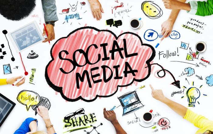 social media heading in bubble with lots of social media icons